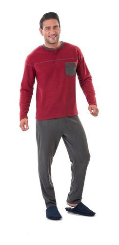 pijama polar varón  marca beckil cod 3099 burdeo,verde