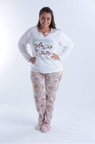 pijama roupa dormir inverno adulto frio plus size feminino