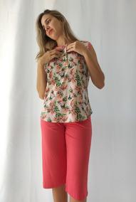 814447c6f6c67d Pijama Senhora Plus Size Regata Com Botão Capri 3878