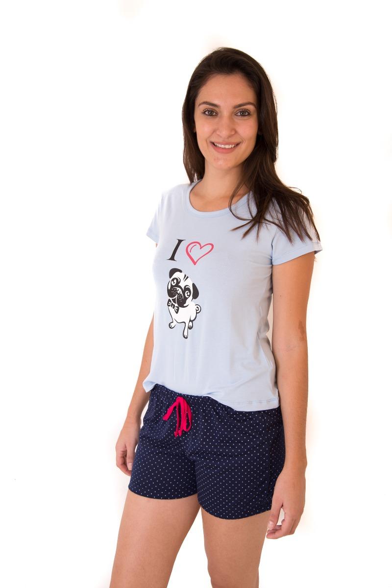 d2a3fd0edac506 Pijama Short Doll Feminino Adulto Curto Verão - I Love Pug