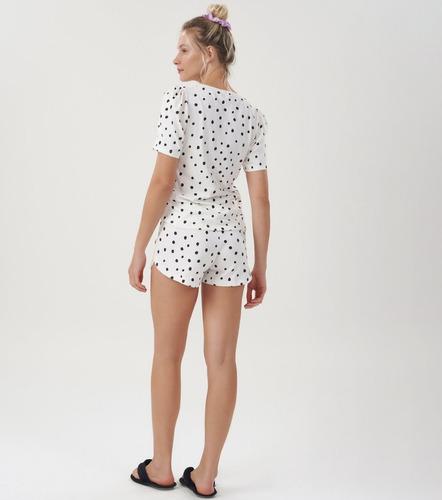 pijama short doll manga curta bolinhas fofo 100% algodão