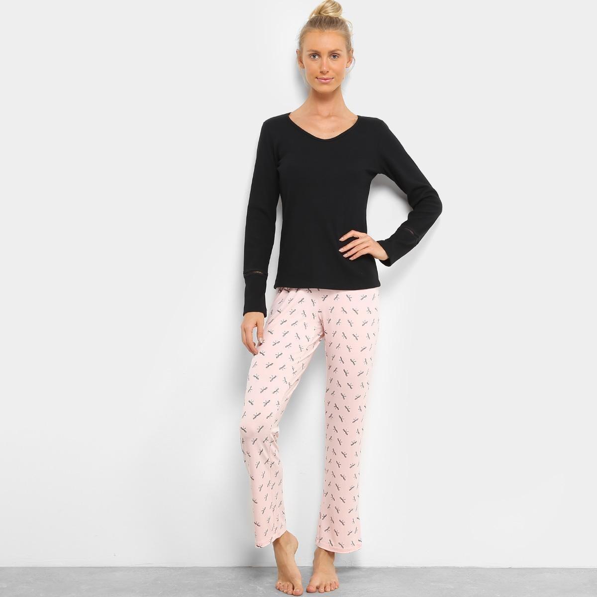 20a8fbe5e pijama sonnovinci longo canelado feminino - tamanho gg. Carregando zoom.