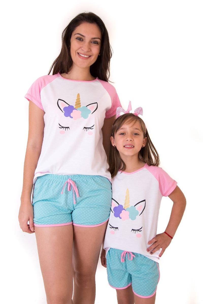 832036b86 pijama unicornio 2 kit mãe e filha short doll - frete grátis. Carregando  zoom.
