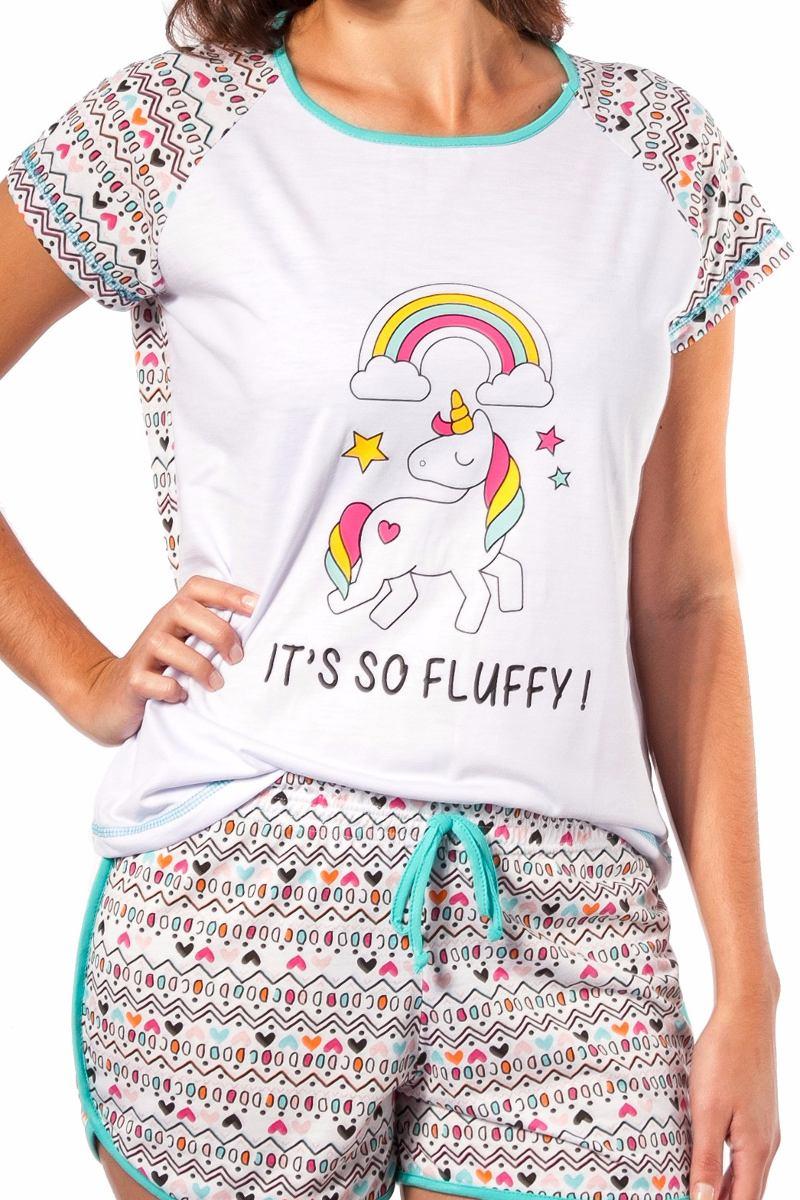 2115466a6 pijama unicornio feminino curto adulto short doll unicórnio. Carregando  zoom.