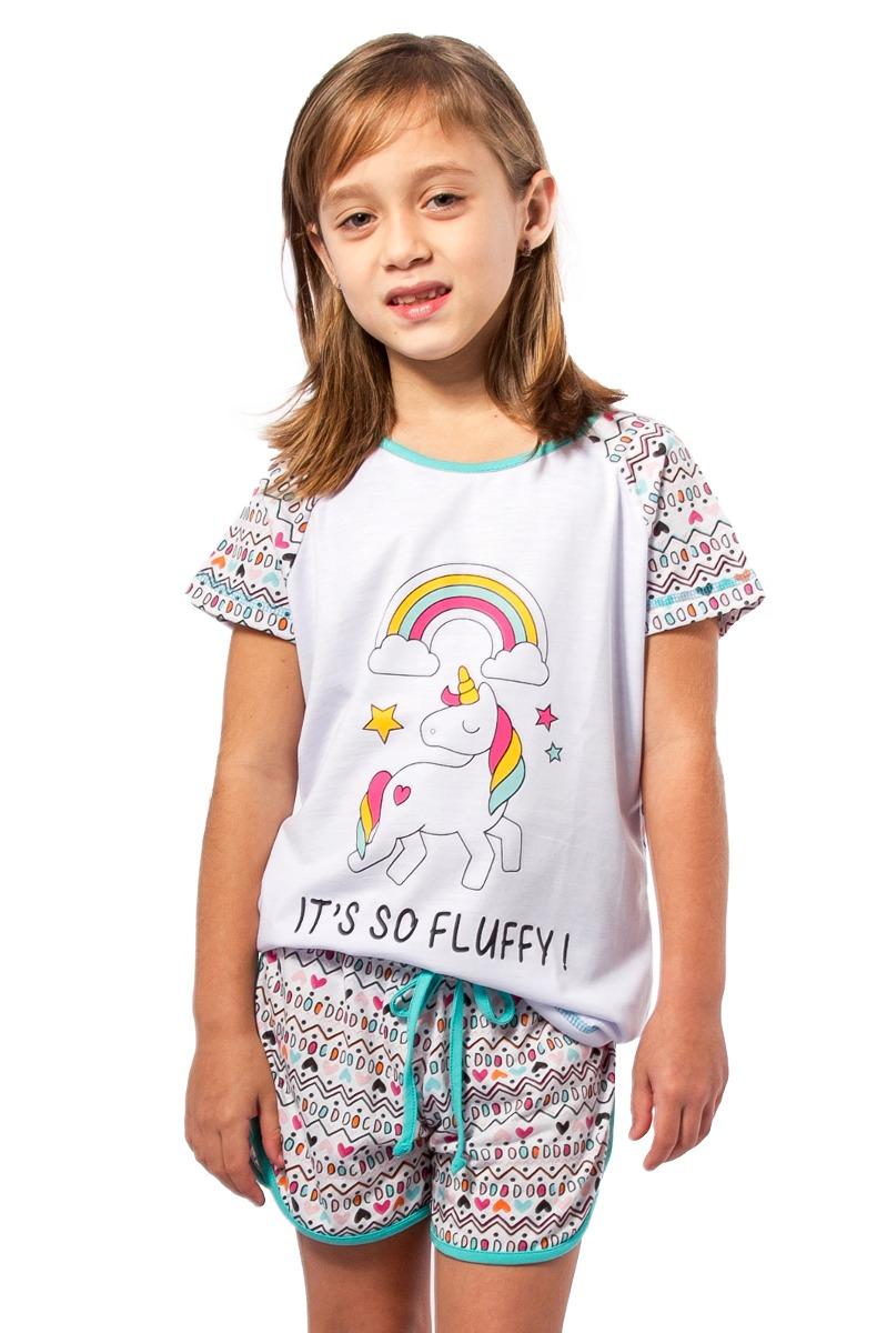 787e74c2c pijama unicornio infantil feminino curto e shorts unicórnios. Carregando  zoom.