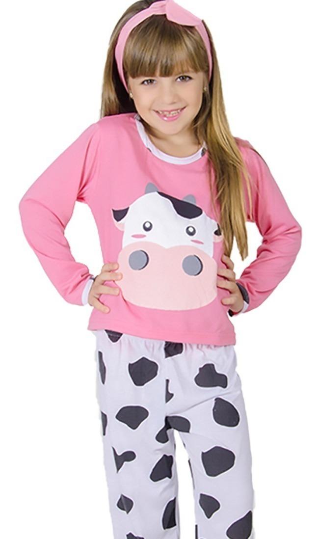 3f853301ab8ec2 Pijama Vaquinha Infantil Longo Fechado Feminino Inverno