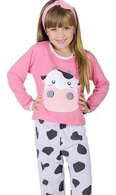 38cc5de87c24a4 Pijama Vaquinha Infantil Longo Fechado Feminino Inverno