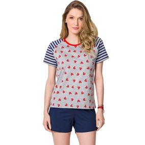 d151d2e84 Pijama Veggi Blusa Manga Curta E Short Corações