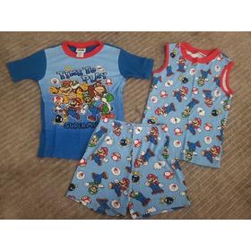 Pijama Verão 3 Peças Super Mario Americano Importado Algodao