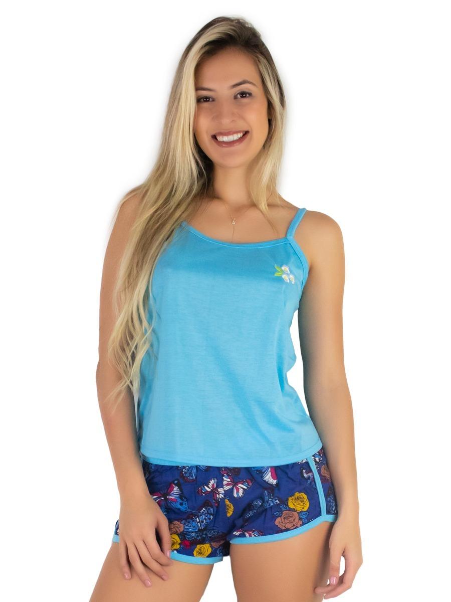 638f590ea pijamas curto adulto feminino blusa regata e short doll. Carregando zoom.