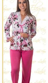 39d55109fa3597 Pijamas Longo Feminino Liganete C/ Renda Estampado Oferta
