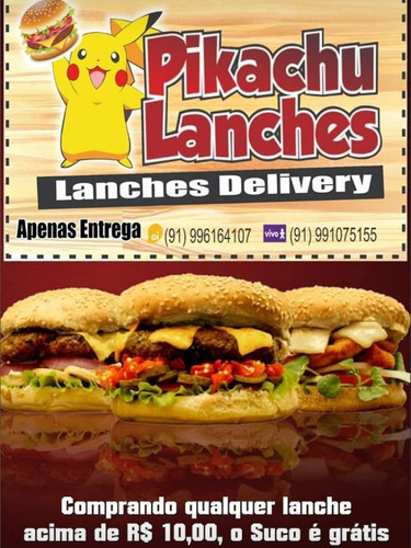 pikachu lanches delivery