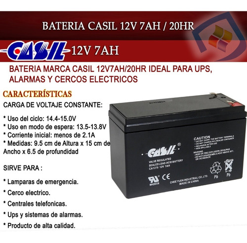 pila bateria 12v 7ah recargable ups cerco lampara 7a