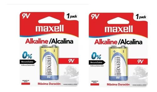 pila bateria alcalina 9 voltios maxell 2 pack