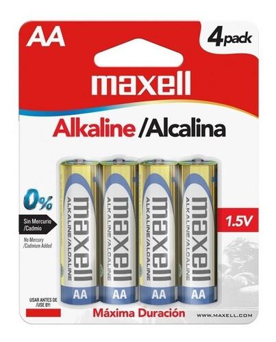 pila bateria alcalina aa paquete de 4 maxell