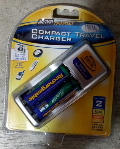 pila bateria recargable aa x2 3000mah + cargador compact
