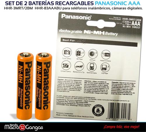 pila batería recargable panasonic aaa x2 830mah tel inalambr