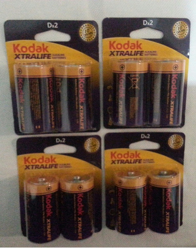 pila bateria tipo d kodak alkalinas vence 2026 blister de 2