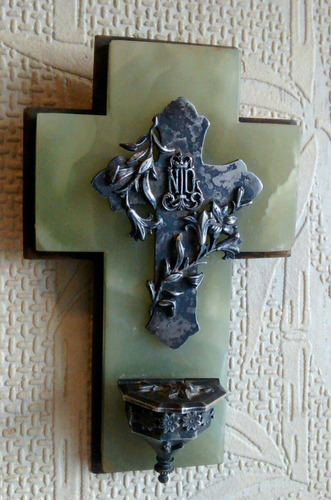 pila bautismal europea mármol onix metal trabajado a mano