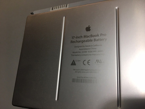 pila para macbook pro de 17' apple original funcional