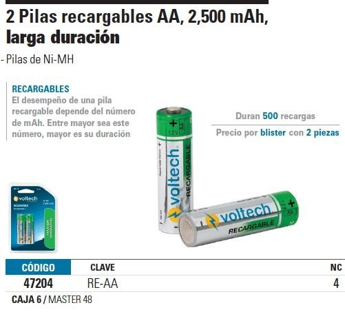 Pila recargable aa voltech 47204 en mercado libre - Tipos de pilas recargables ...