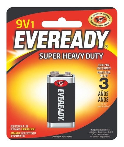 pila zinc carbon eveready 9v bateria super heavy duty 1222 - importadora fotografica - distribuidor oficial eveready