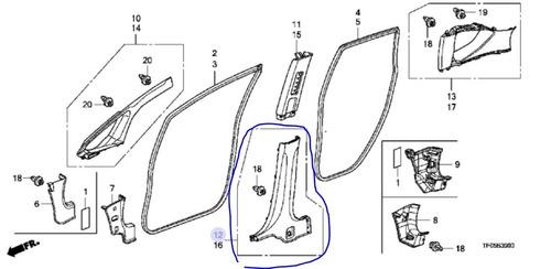 pilar central der. (inferior)honda fit 2009