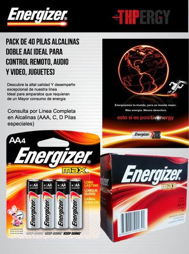 pilas aa alcalinas energizer caja de 40 pilas.