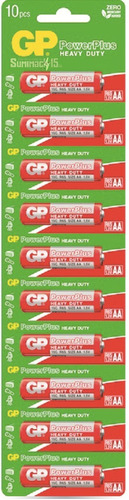 pilas aa gp power plus carbon zinc blister de 10