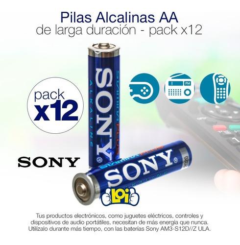 pilas alcalinas sony aa larga duración pack x12 oferta loi