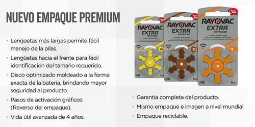 pilas audífono rayovac extra advanced pack 10 brister de 6un