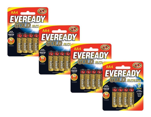pilas baterias alcalinas aa 1.5v 4 paquetes eveready gold