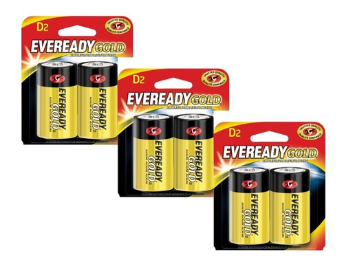 pilas baterias alcalinas d2 1.5v 3 paquetes x2 eveready gold