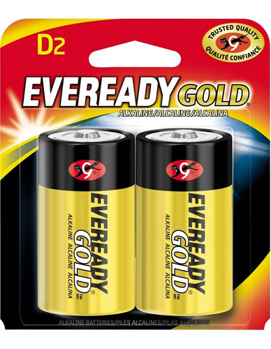 pilas baterias alcalinas d2 1.5v paquete de 2 eveready gold