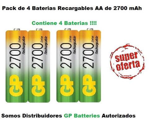 pilas baterias gp recargables pack x2 aa 2700mah p295