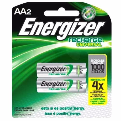 pilas baterias recargables energizer aa x 2, 1000 ciclos