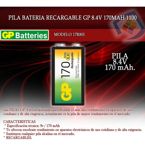 pilas baterias recargables gp 9v 170 mah sellado 8.4v