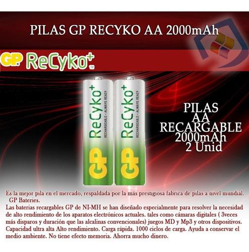 pilas baterias recargables gp aa 2000 mah  2 unid  sellado