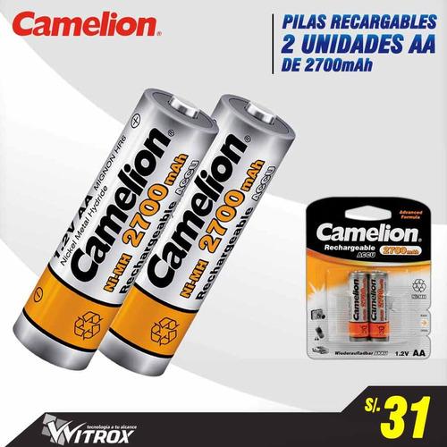 pilas camelion aa de 2700mah recargable x 2 unid, nuevos