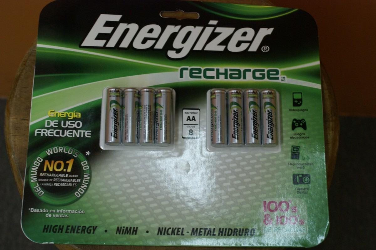 Pilas energizer recargables 8 aa 2000 mah en for Pilas recargables aa