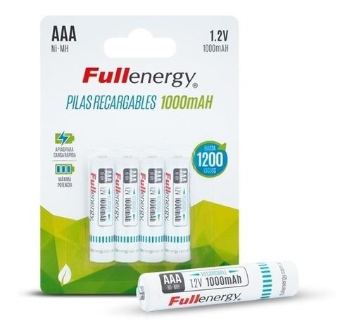 pilas recargables aaa x4 1000mah fullenergy