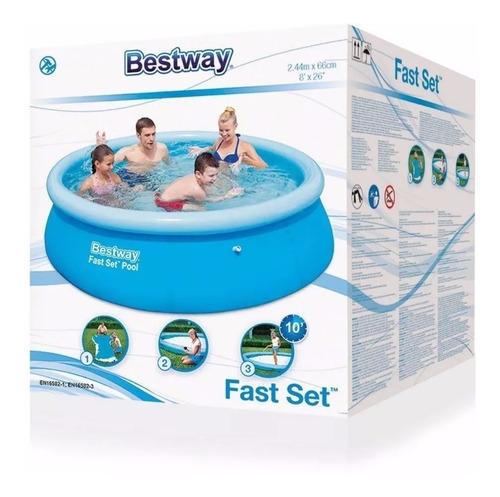 pileta bestway 244 + inflador aro inflable fast set original