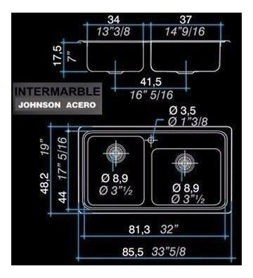 pileta cocina bacha johnson q85 doble 85x48x17 de encastrar
