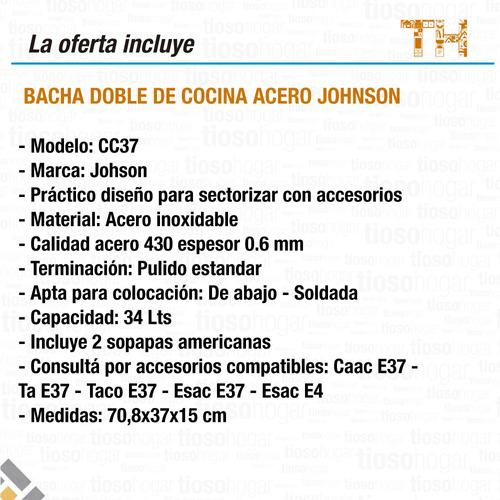 pileta cocina doble bacha johnson cc37 de 70 x 37 acero 430