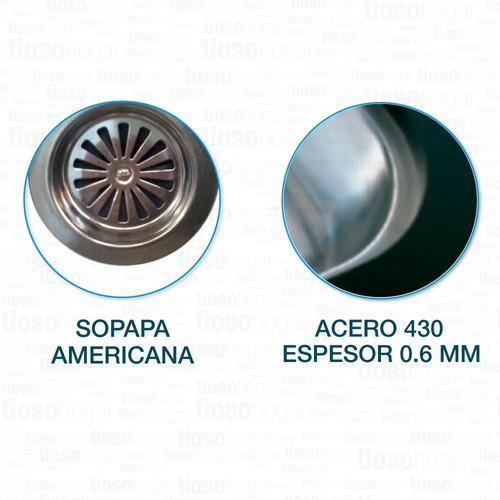 pileta cocina doble bacha johnson cc37 de 70x37 acero inoxidable 430 diseño acabado pulido standard sopapa americana