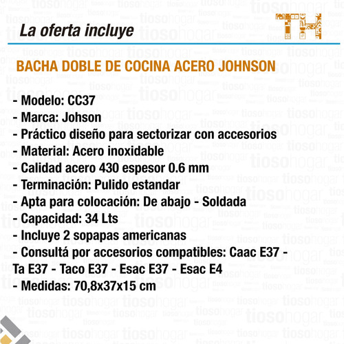 pileta cocina doble bacha johnson cc37 de 70x37 sin interes