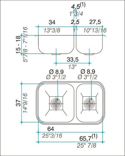 pileta cocina johnson  doble r63/18 63,8x37x18 + monocomando