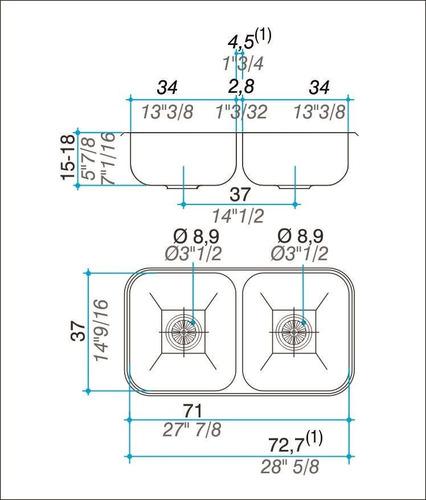 pileta de cocina johnson doble cc37 70,8x37x15cm acero