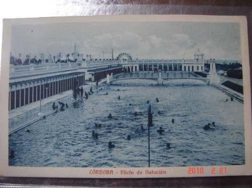 pileta de natacion, cordoba. antigua postal.