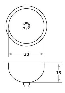 pileta encastrable acero para vanitory 30 cm baño 453e